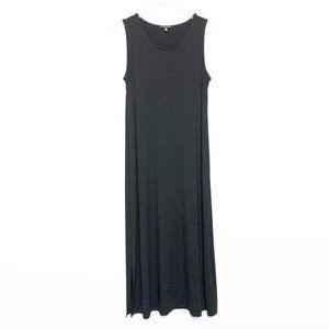Eileen Fisher   Side Slit Black Midi Dress Size M